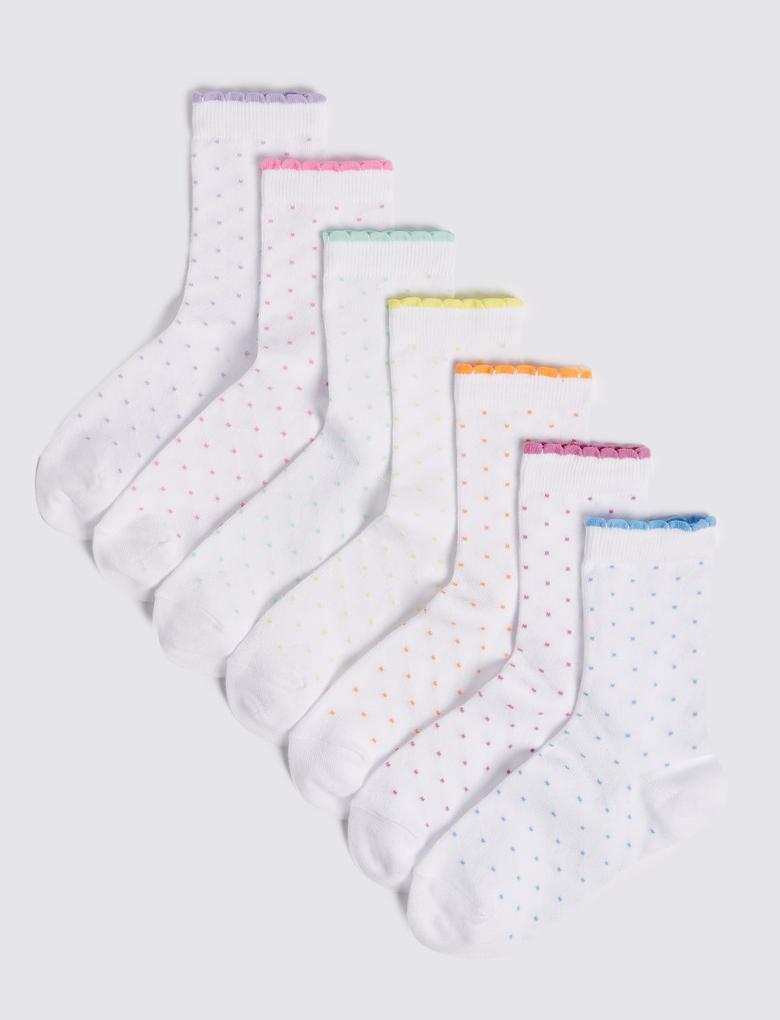 Kız Çocuk Beyaz 7'li Çorap Seti