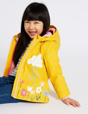 Kız Çocuk Sarı 3'ü 1 Arada Çiçek Desenli Yağmurluk