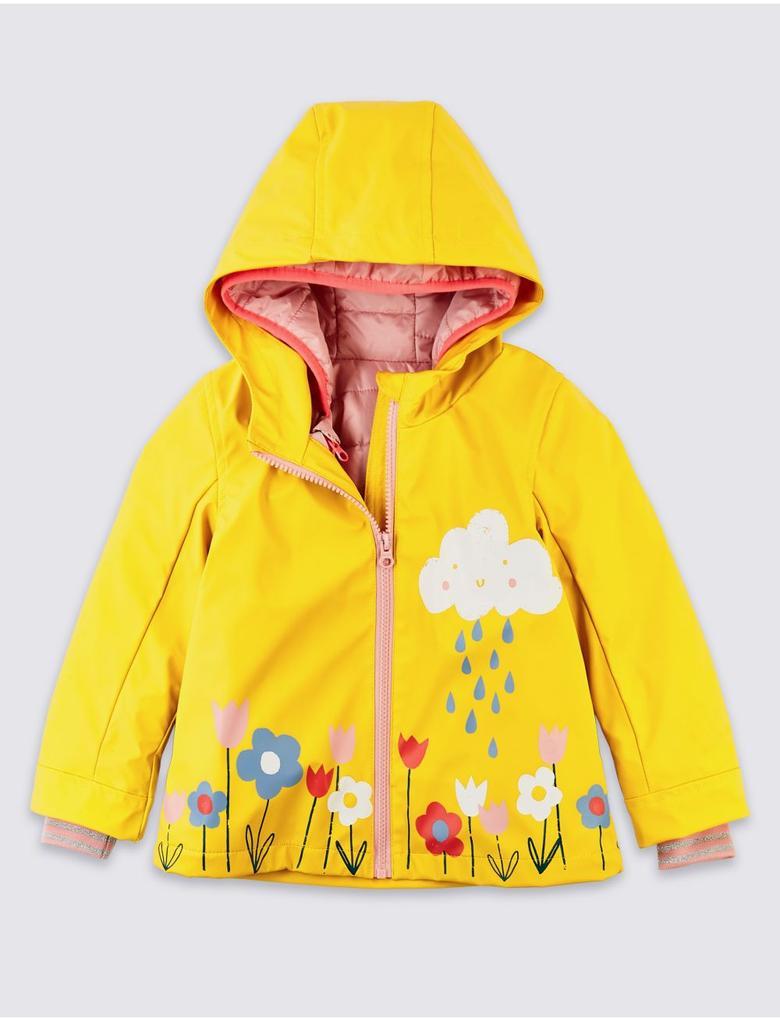 3'ü 1 Arada Çiçek Desenli Yağmurluk