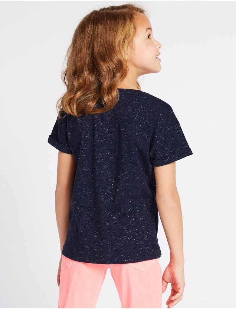 Kız Çocuk Lacivert Pamuklu Gökkuşağı Desenli T-Shirt