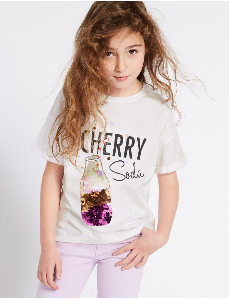 Kız Çocuk Beyaz Saf Pamuklu Pullu Üst