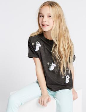 Pamuklu Unicorn Desenli T-Shirt