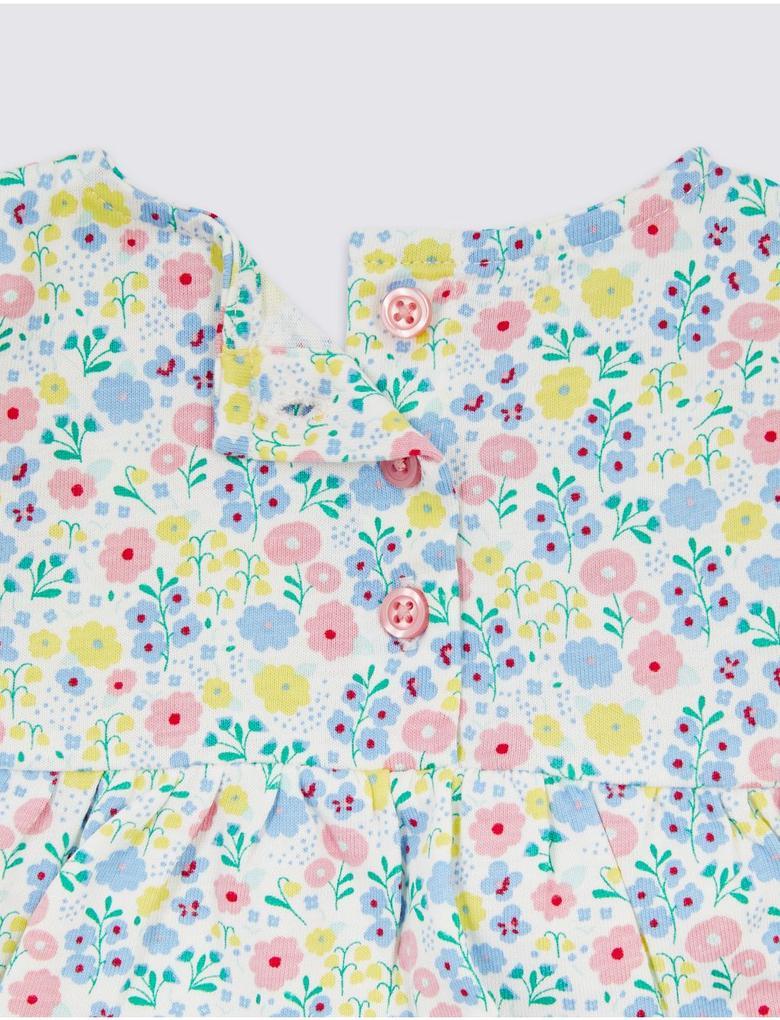2 Parça Saf Organik Pamuklu Çiçekli Üst ve Alt Takımı