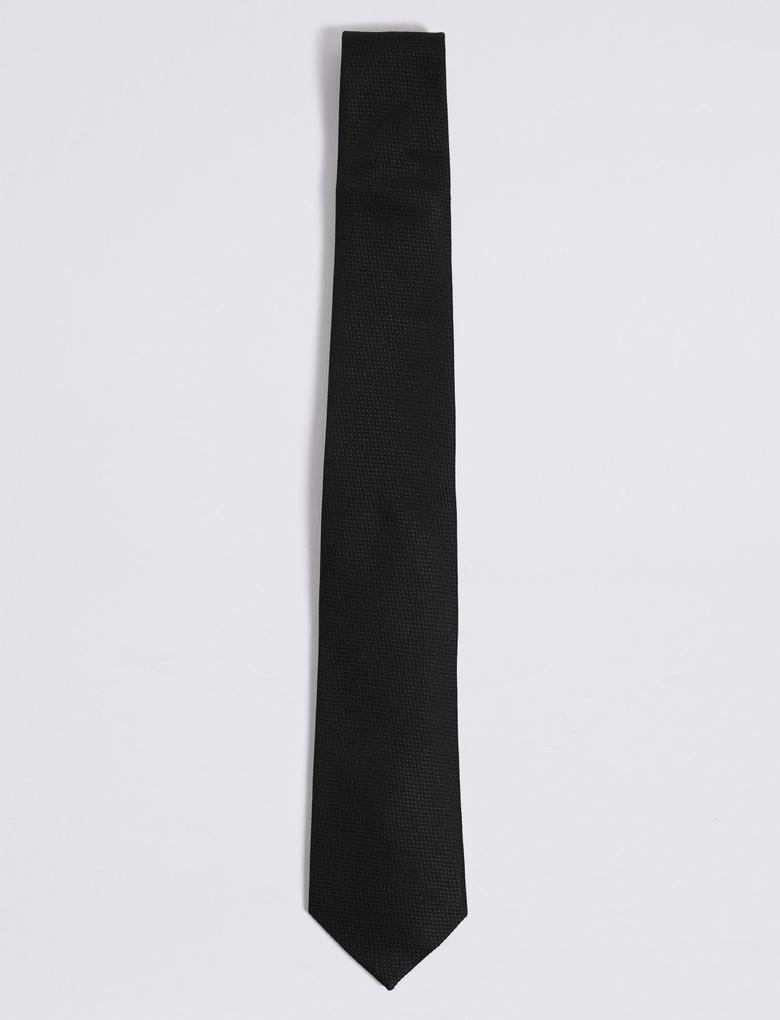 Erkek Siyah Saf İpek Kravat