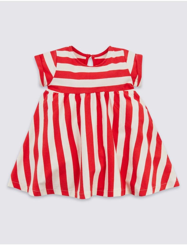 Kırmızı Saf Pamuklu Çizgili Elbise