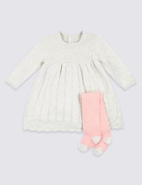2 Parça Örgü Elbise ve Külotlu Çorap Takımı