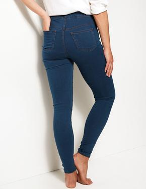 Kadın Mavi Pamuklu Jegging Tayt Pantolon