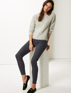 Kadın Gri Pamuklu Jegging Tayt Pantolon