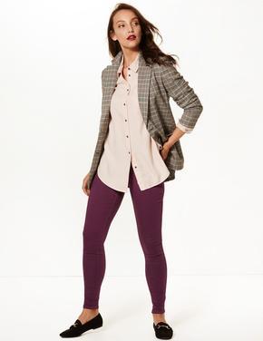 Kadın Mor Pamuklu Jegging Tayt Pantolon