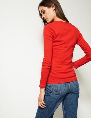 Kırmızı Saf Pamuklu Yuvarlak Yaka Uzun Kollu T-Shirt