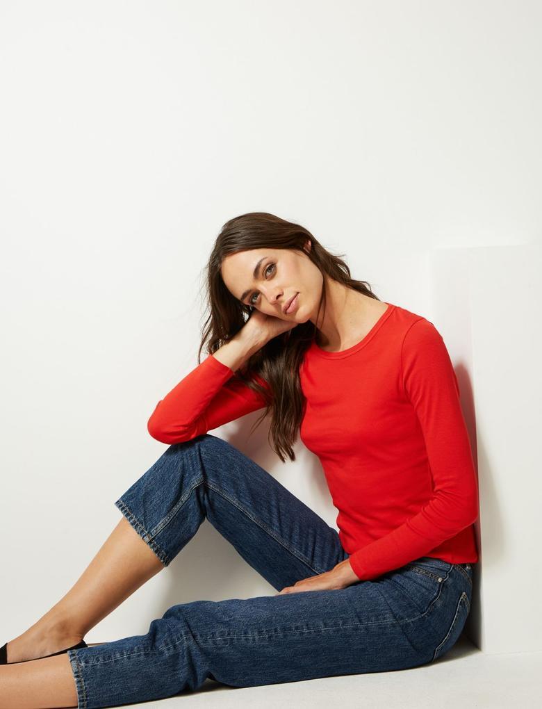 Kadın Kırmızı Saf Pamuklu Yuvarlak Yaka Uzun Kollu T-Shirt
