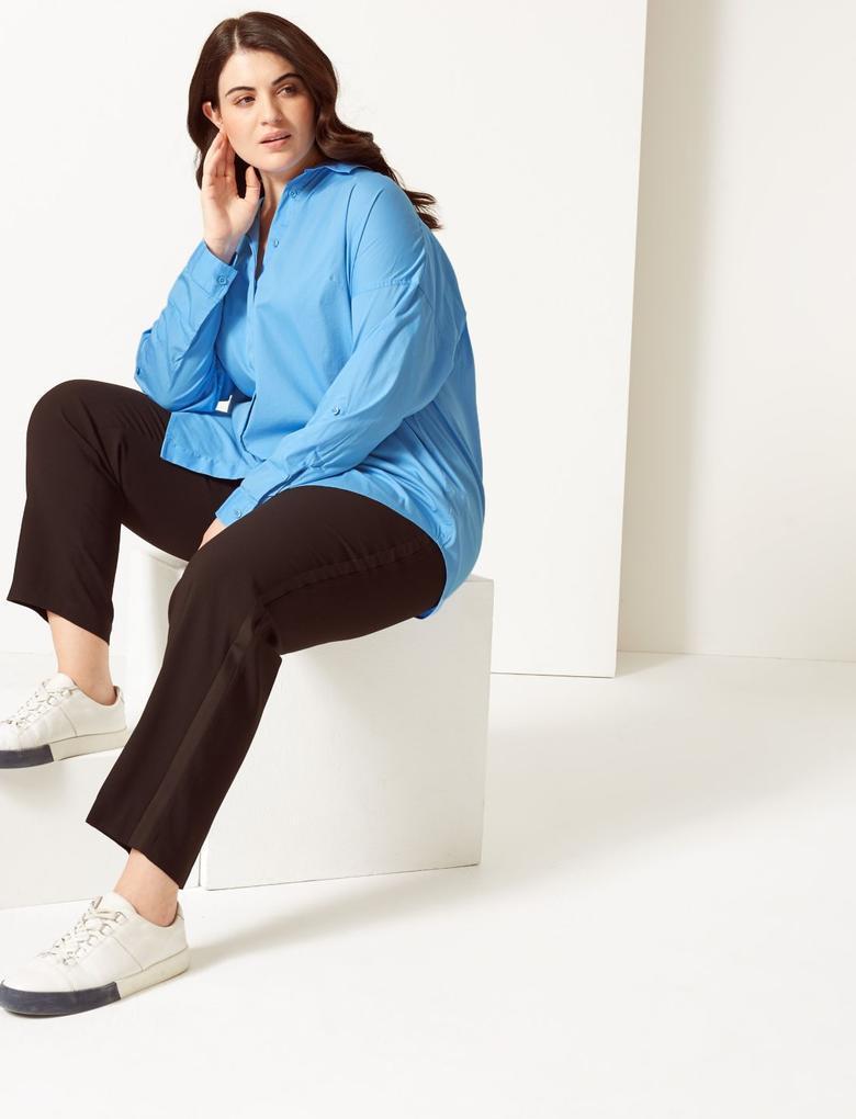 Kadın Mavi CURVE Pamuklu Uzun Kollu Gömlek