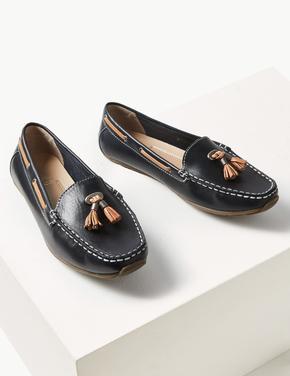 Geniş Kalıplı Deri Loafer Ayakkabı