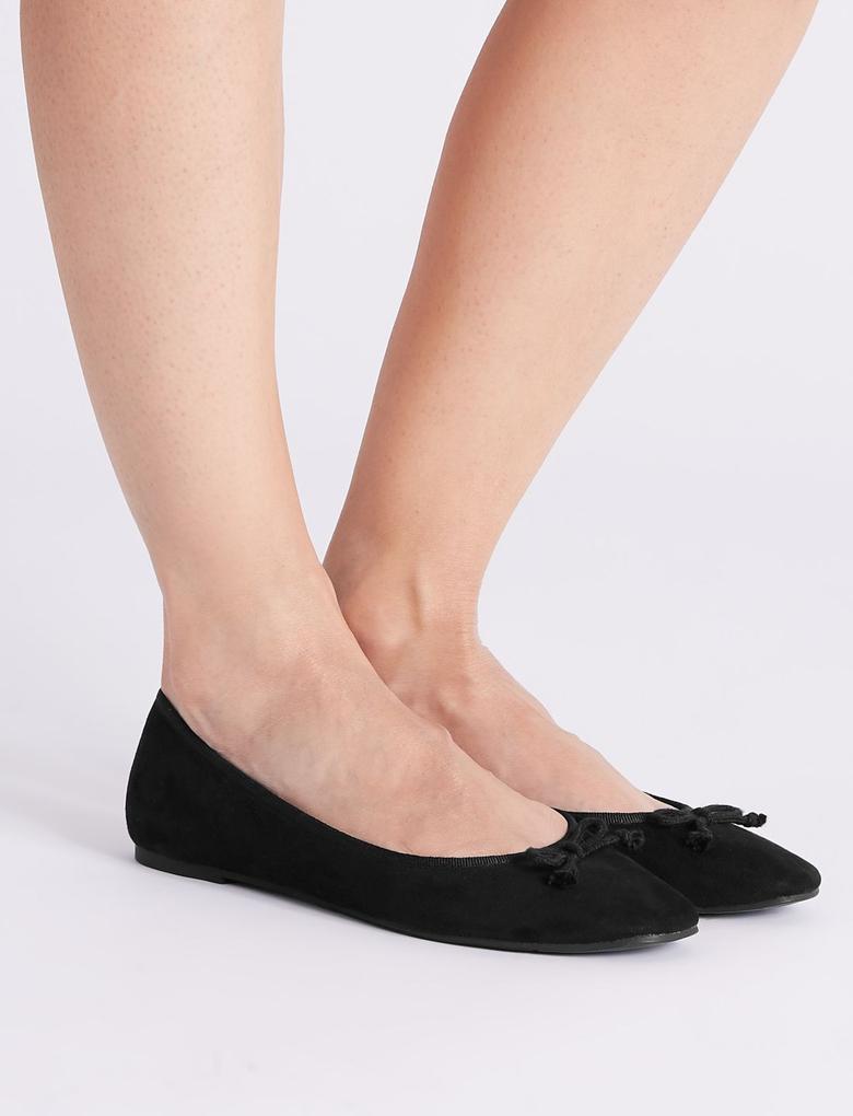 Kadın Siyah Fiyonk Detaylı Babet Ayakkabı