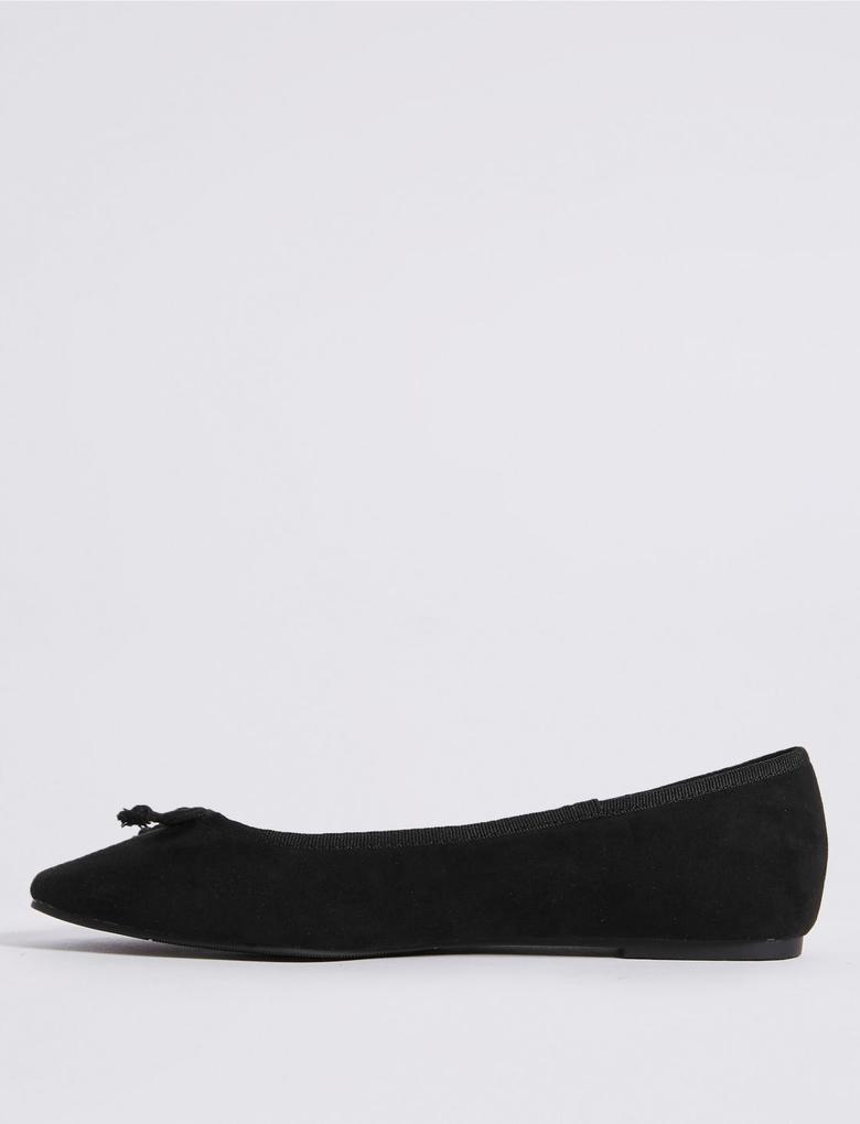 Siyah Fiyonk Detaylı Babet Ayakkabı