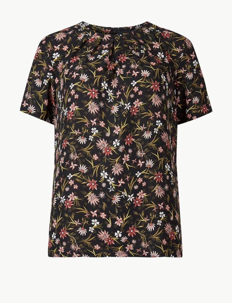 Çiçek Desenli Kısa Kollu Bluz