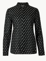 Saf Pamuklu Puantiyeli Uzun Kollu Gömlek