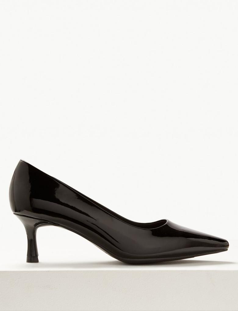 Siyah Kare Burunlu Topuklu Ayakkabı