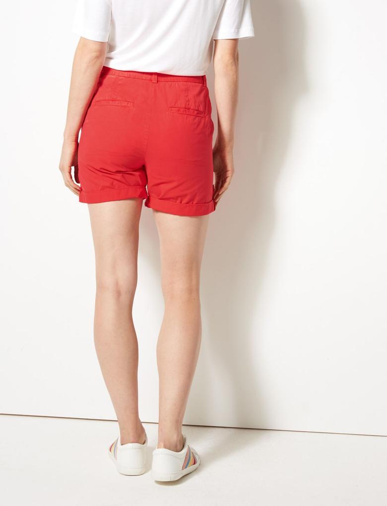 Kadın Kırmızı Saf Pamuklu Chino Şort
