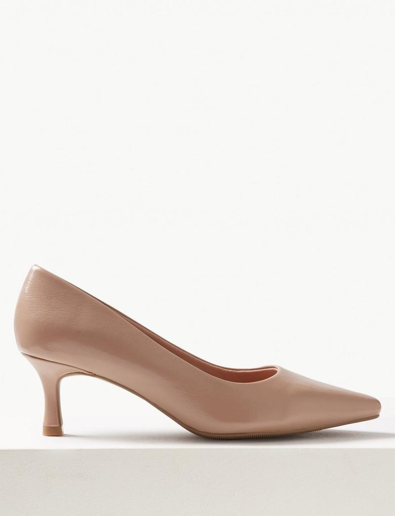 Kadın Bej Kare Burunlu Topuklu Ayakkabı