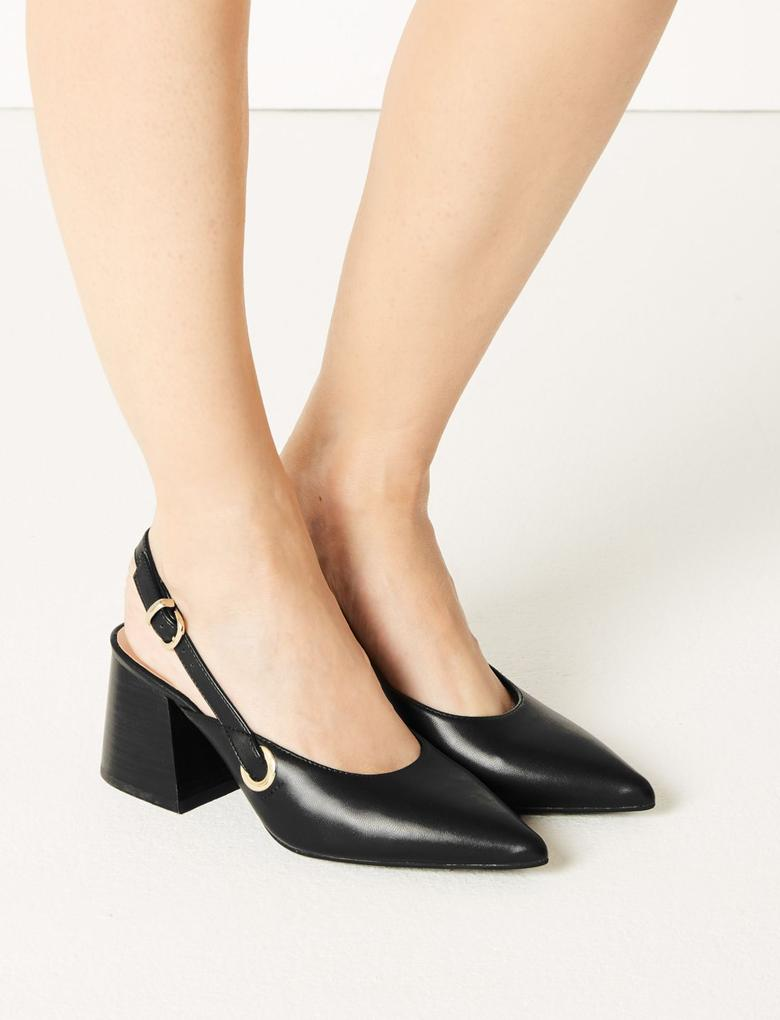 Kadın Siyah Sivri Burunlu Topuklu Ayakkabı