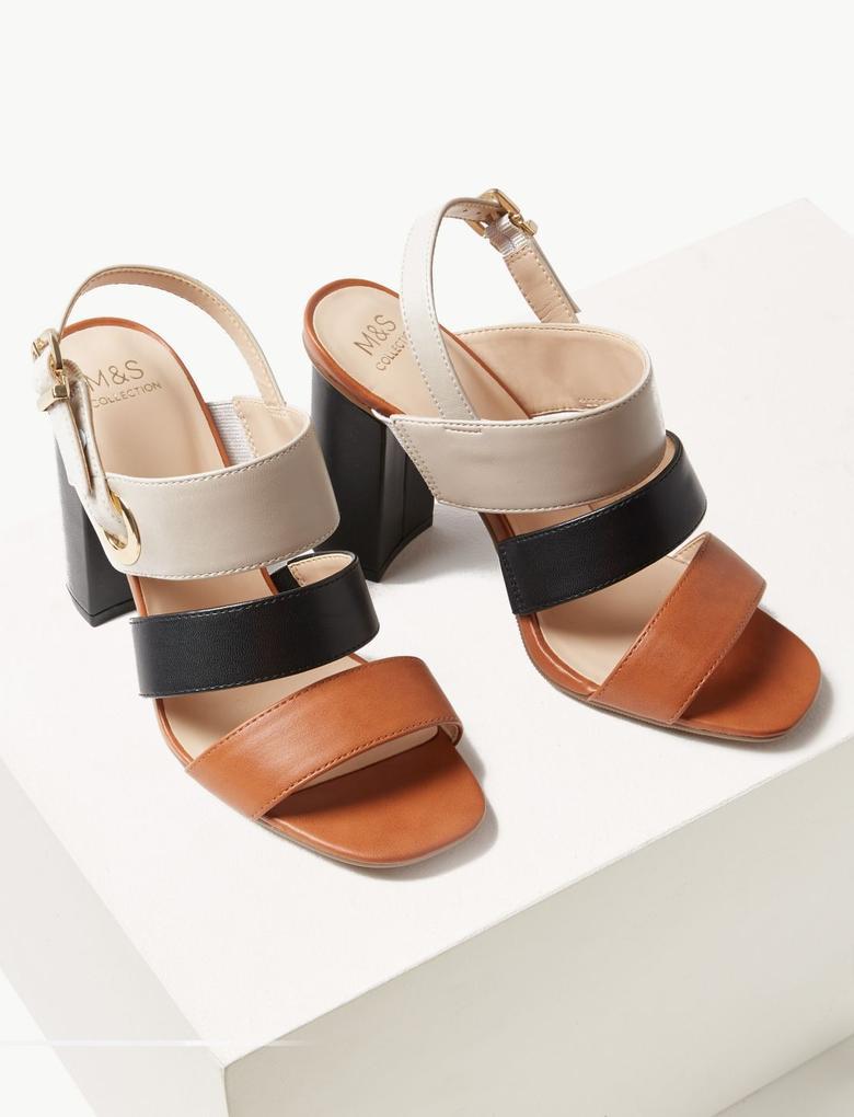 Kadın Bej Kalın Topuklu Sandalet
