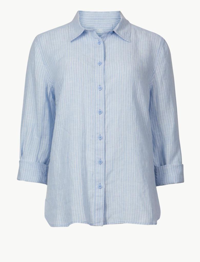Saf Keten Çizgili Uzun Kollu Gömlek