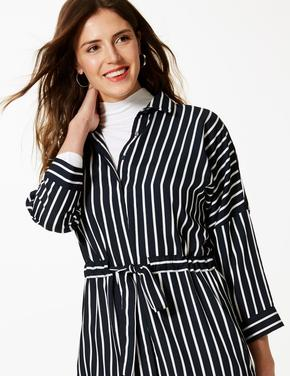 Uzun Kollu Çizgili Midi Gömlek Elbise
