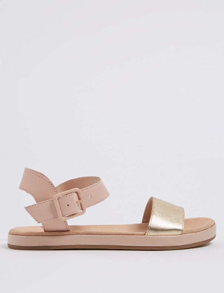 Pembe Deri Sandalet