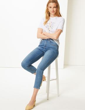 Kadın Beyaz Saf Pamuklu Desenli Kısa Kollu T-Shirt