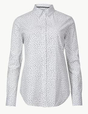 Pamuklu Puantiyeli Uzun Kollu Gömlek