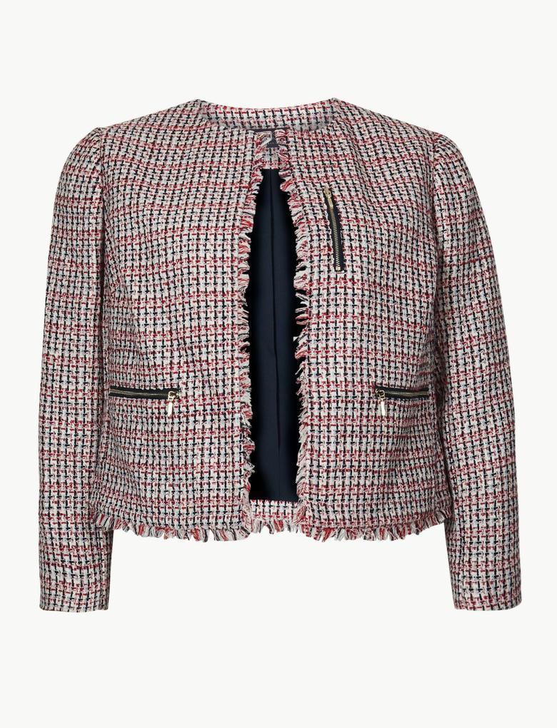Kadın Kırmızı Önü Açık Blazer Ceket
