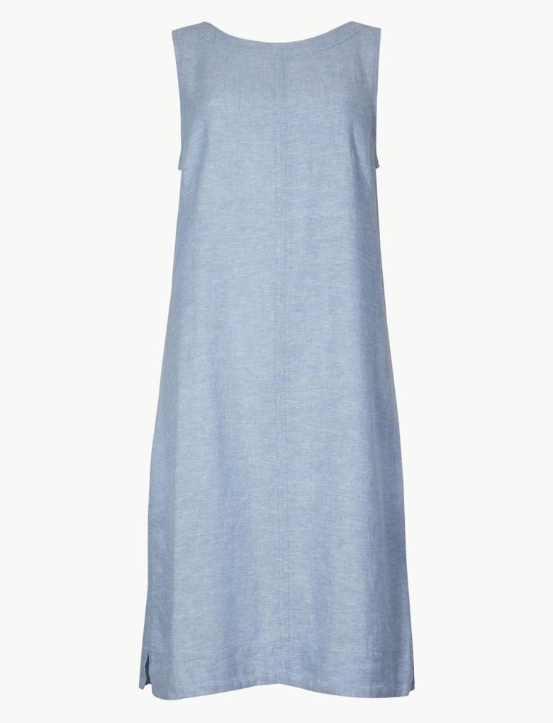 Kadın Mavi Yuvarlak Yaka Keten Elbise