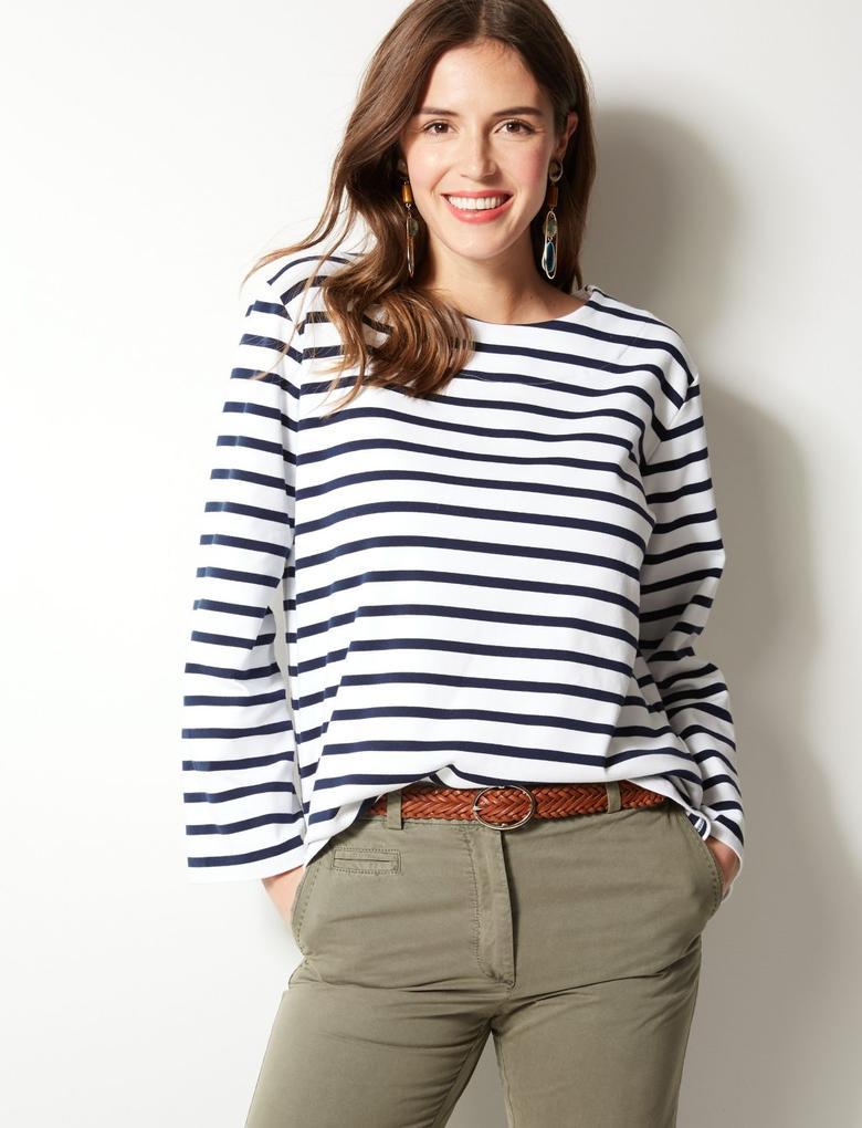 Pamuklu Çizgili Uzun Kollu T-Shirt