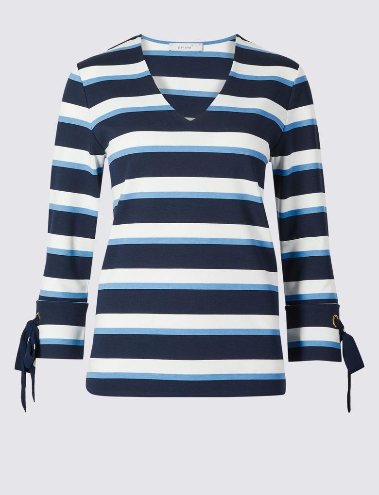 Çizgili V Yaka 3/4 Kollu T-Shirt