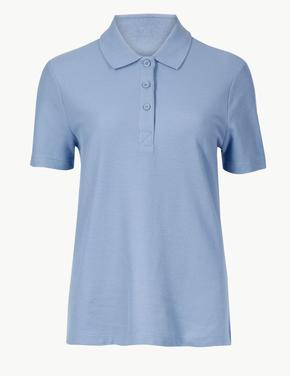 Saf Pamuklu Kısa Kollu Polo Yaka T-Shirt