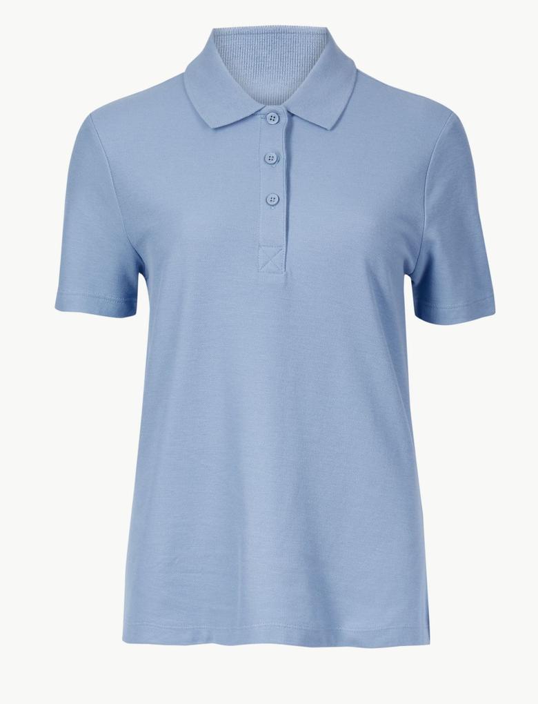 Mavi Saf Pamuklu Kısa Kollu Polo Yaka T-Shirt