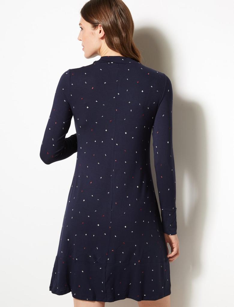 Lacivert Desenli Uzun Kollu Midi Elbise