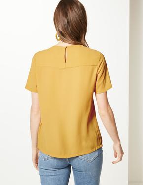 Sarı Yuvarlak Yaka Kısa Kollu Bluz