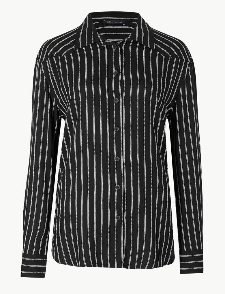 Kadın Siyah Çizgili Uzun Kollu Gömlek