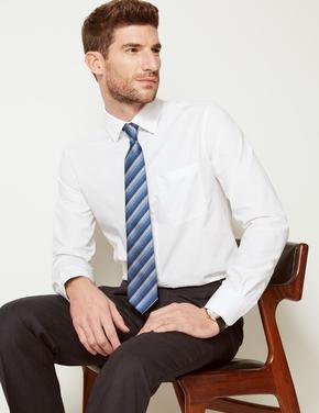 Beyaz 3'lü Kolay Ütülenebilir Slim Cepli Gömlek
