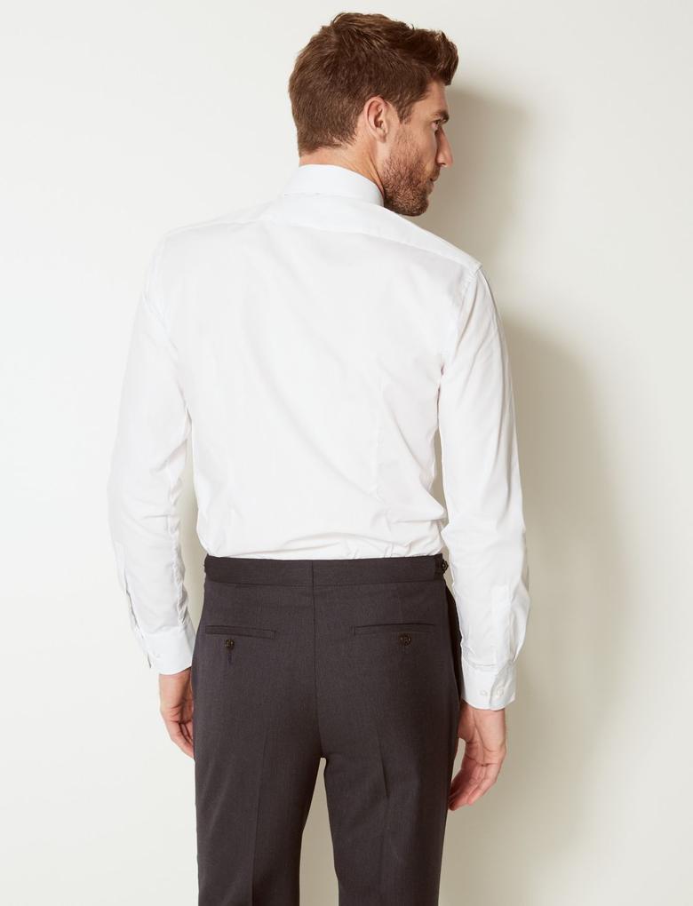 3'lü Kolay Ütülenebilir Slim Cepli Gömlek