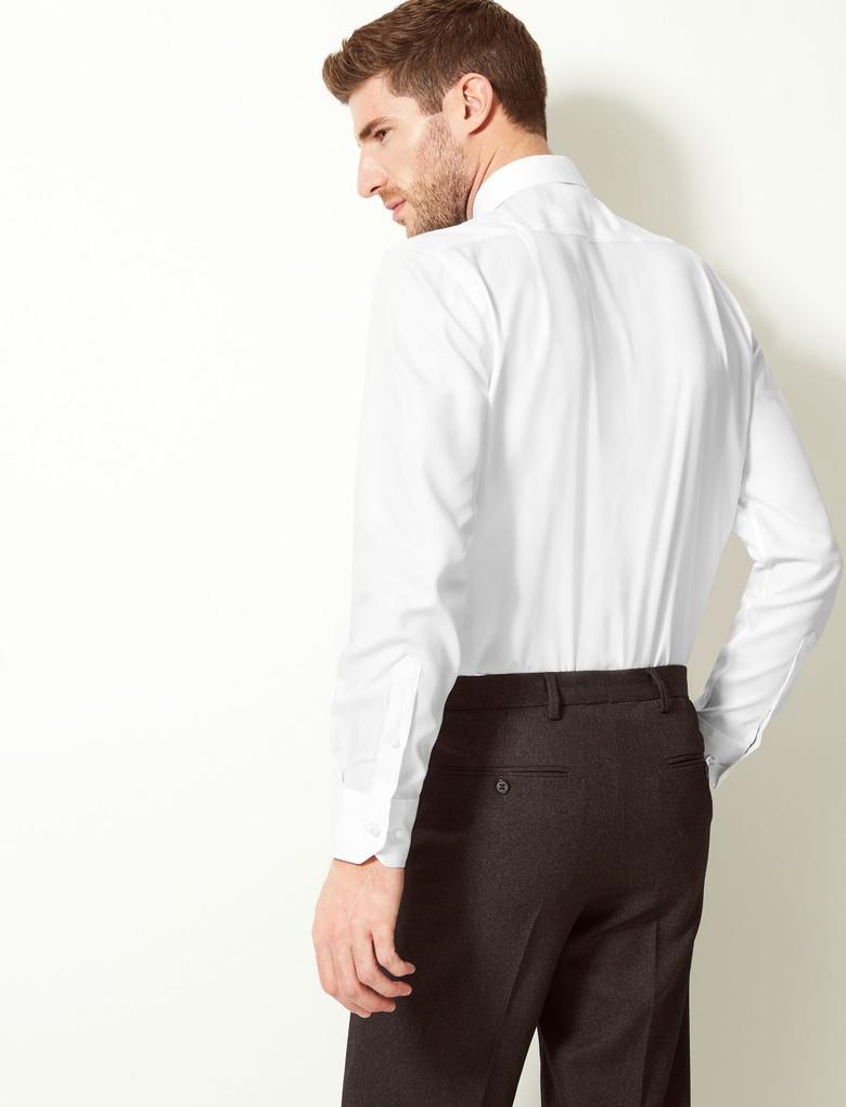 Beyaz Performance Saf Pamuklu Ütü Gerektirmeyen Gömlek