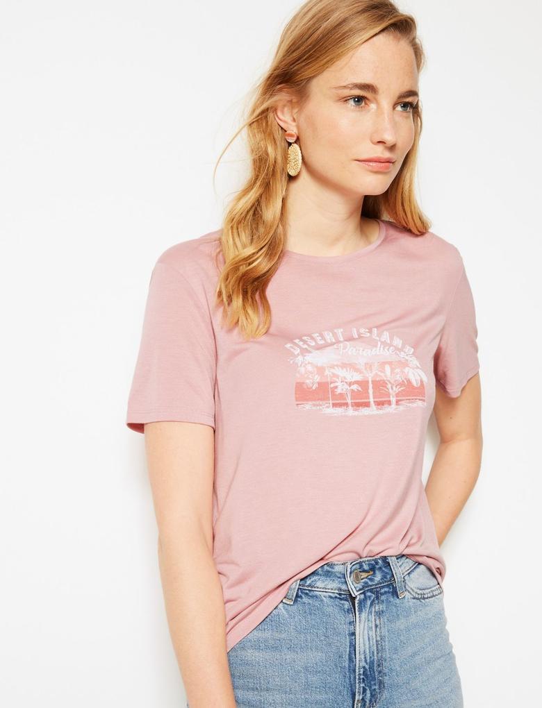 Pembe Desenli Yuvarlak Yaka Kısa Kollu T-Shirt