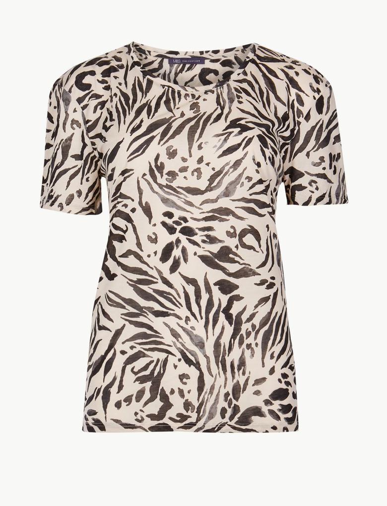 Siyah Desenli Kısa Kollu T-Shirt