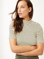 Kadın Sarı Saf Pamuklu Çizgili Kısa Kollu T-Shirt