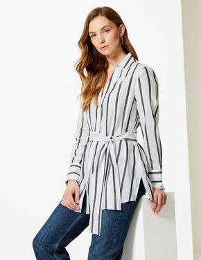 Kadın Çizgili Uzun Kollu Gömlek
