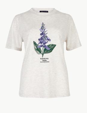 İşlemeli Yuvarlak Yaka T-Shirt
