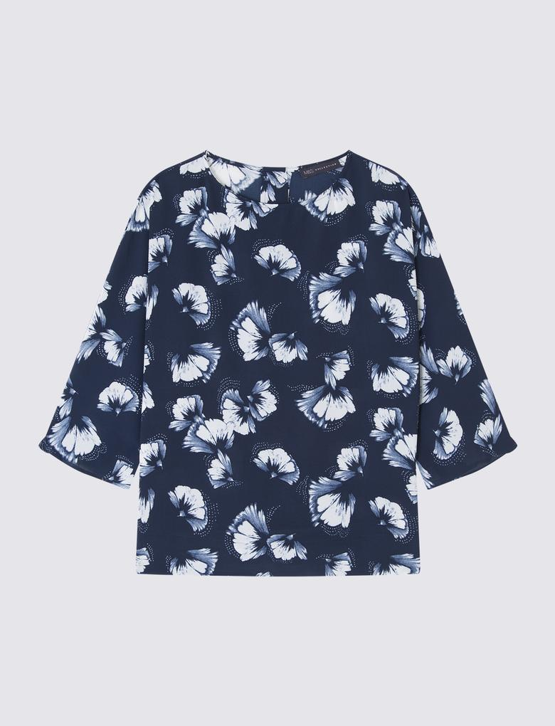 Kadın Lacivert 3/4 Kollu Kimono Bluz
