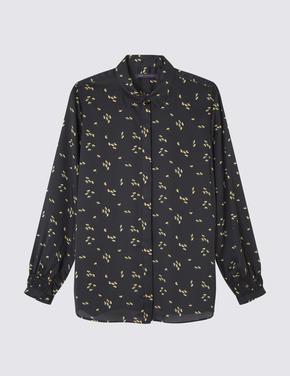 Çiçekli Saten Bluz